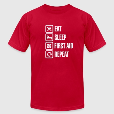 Eat Sleep First Aid Repeat - Men's Fine Jersey T-Shirt