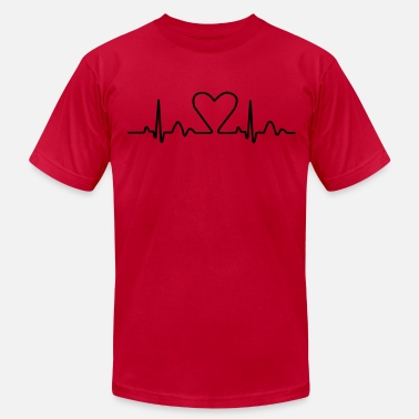 Heart Curve Lines of Heart electrocardiogram heart pulse heart, loving couples, Valentine's Day - Men's Fine Jersey T-Shirt