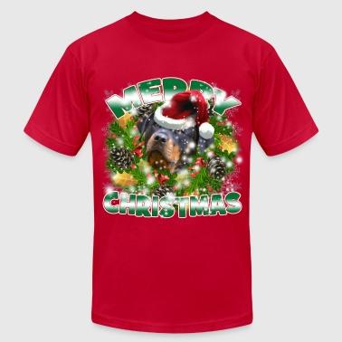 Dog Lover Merry Christmas Rockweiler - Men's Fine Jersey T-Shirt