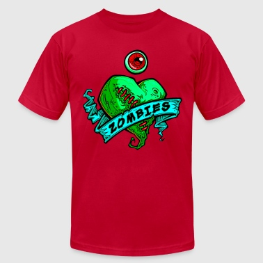 h3_eye_heart_zombies_green - Men's Fine Jersey T-Shirt