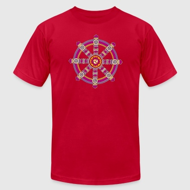 Dharma Wheel of Fortune, Buddhism, Chakra - Men's Fine Jersey T-Shirt