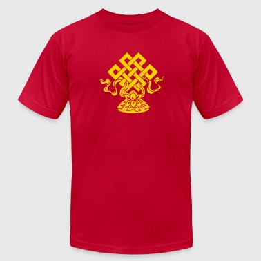 Eternal Knot, Endless, Lotus, Tibetan Buddhism, - Men's Fine Jersey T-Shirt