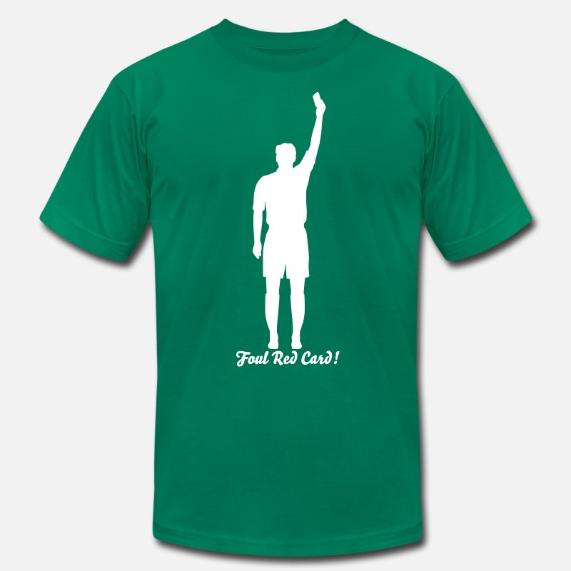 Judge T-Shirts - Soccer Referee Silhouette 01 - Men's Jersey T-Shirt kelly green