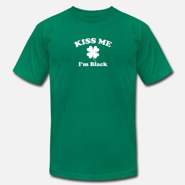 3dacc0e4 Black Irish St Patricks Day Kiss Me I'm Black Shamrock St Patricks.  Men's Jersey T-Shirt