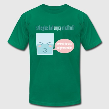 funny cartoon about a half full cup - Men's Fine Jersey T-Shirt