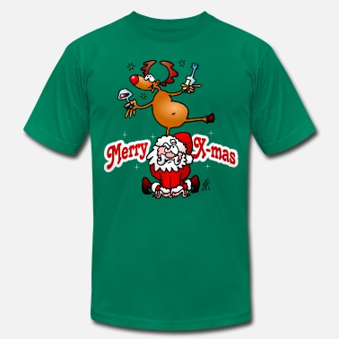 Drunk Reindeer Merry Christmas - Reindeer dances on Santa Claus - Men's  Jersey T-Shirt