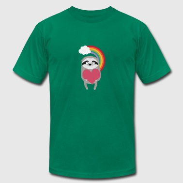 Rainbow Sloth with Heart Gift - Men's Fine Jersey T-Shirt