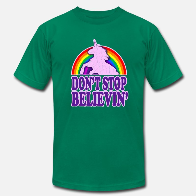 Cheesy T-Shirts - Don't Stop Believin' in Unicorns! - Men's Jersey T-Shirt kelly green