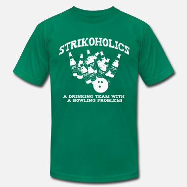Bowling Strike Bowling Strike and Beer = Strikoholics - Men's Fine Jersey T-Shirt
