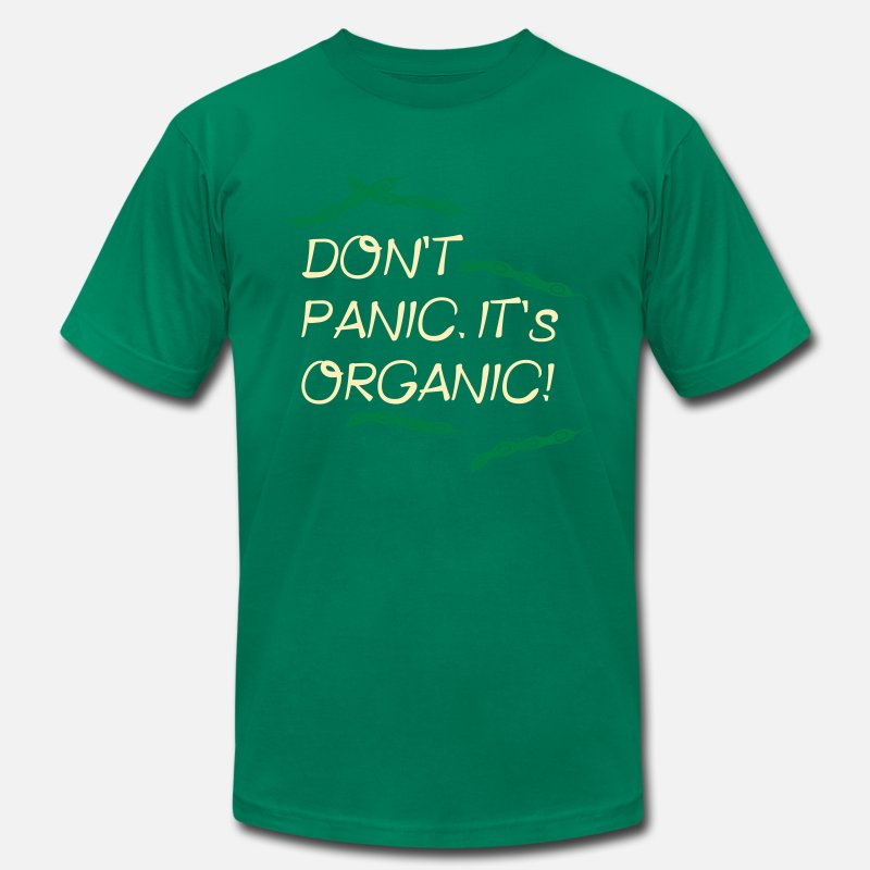 Food T-Shirts - Don't Panic. It's Organic. - Men's Jersey T-Shirt kelly green