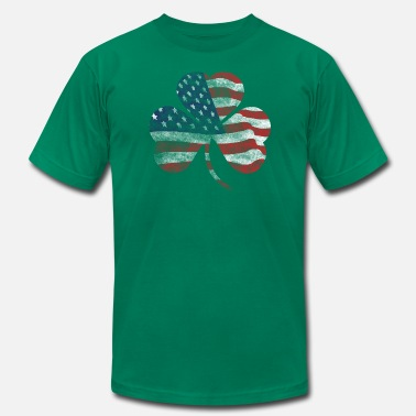 Irish American American United States USA Shamrock Flag Shirts - Men's Fine Jersey T-Shirt