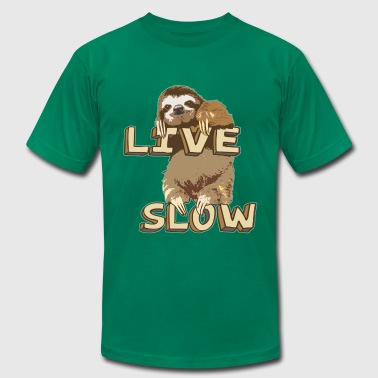 Funny Sloth - LIVE SLOW - Men's Fine Jersey T-Shirt