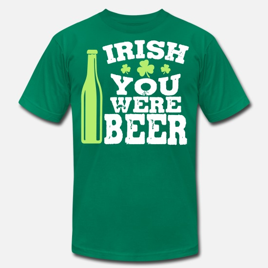 Irish T-Shirts - Irish you were beer - Men's Jersey T-Shirt kelly green