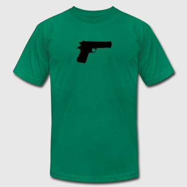 Vector Gun Silhouette - Men's T-Shirt by American Apparel