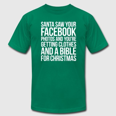 SANTA SAW YOUR FACEBOOK PHOTOS - Men's Fine Jersey T-Shirt