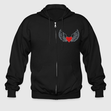 Heart With Wings Heart and Wings - Men's Zip Hoodie