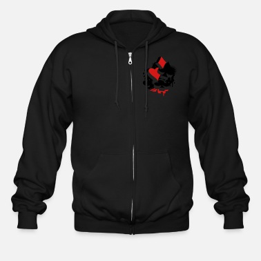 Bluffing Four playing cards symbols Heart, spade, diamond, - Men's Zip Hoodie