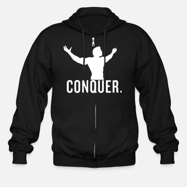 Bodybuilding Conquer Arnie Vector Design - Men's Zip Hoodie