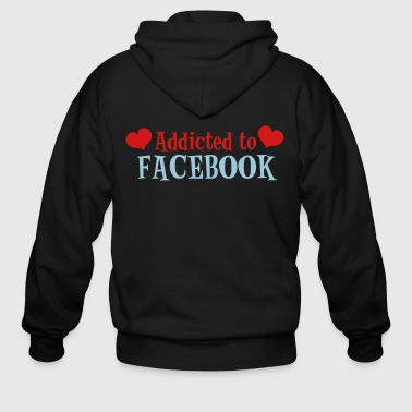 ADDICTED TO FACEBOOK with love hearts - Men's Zip Hoodie