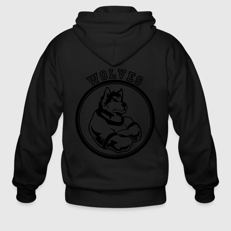 Wolf or wolves Custom Teams Graphic - Men's Zip Hoodie
