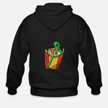 Scifi Alien Fries Lazy Gift - Men's Zip Hoodie