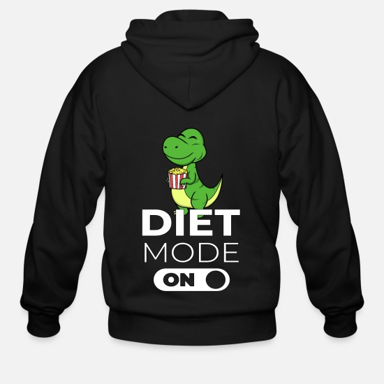 Birthday Hoodies & Sweatshirts - Diet Mode On Nutrition Dinosaur Fitness Gift Idea - Men's Zip Hoodie black