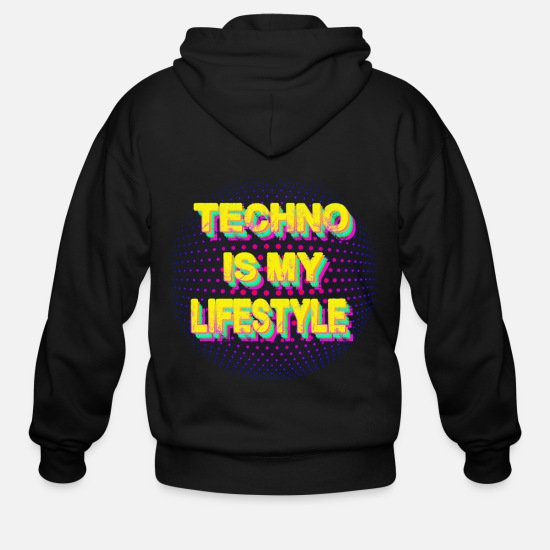 Festival Hoodies & Sweatshirts - techno is my lifestyle rave trance house electro - Men's Zip Hoodie black