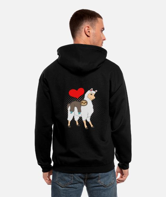Lazy Hoodies & Sweatshirts - Alpaca Shirt With A Cute Illustration Of Alpaca - Men's Zip Hoodie black