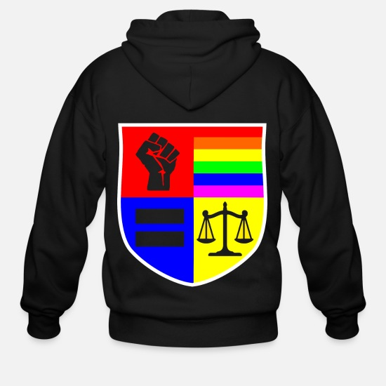 Love Hoodies & Sweatshirts - Social Justice Shield - Men's Zip Hoodie black