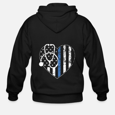 Thin Thin Blue Line Nurse Stethoscope - Men's Zip Hoodie