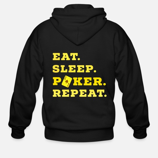 Ace Hoodies & Sweatshirts - Eat Sleep Poker Repeat Casino Pik Texas gift - Men's Zip Hoodie black