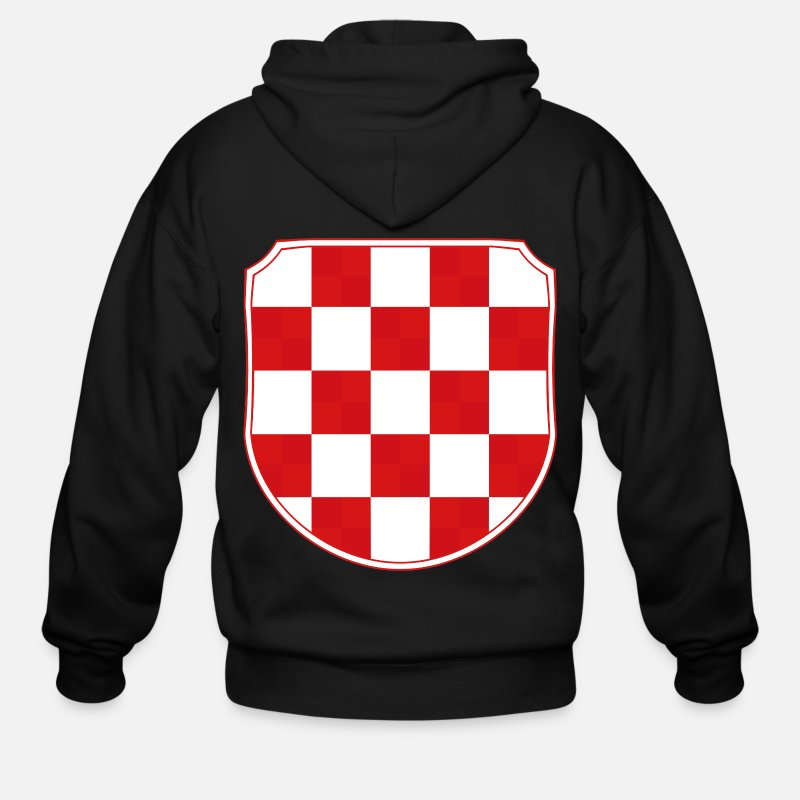 Croatia Hoodies & Sweatshirts - Croatia Hrvatska Coat of arms Sahovnica - Men's Zip Hoodie black