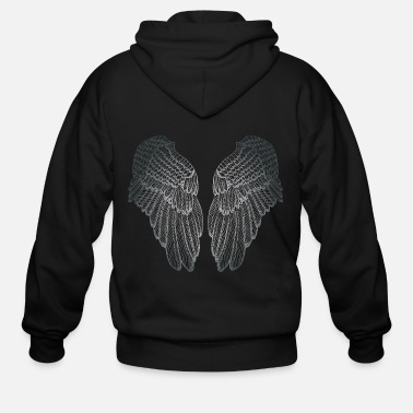 Angel Silver Heart - Angel Wings - Men's Zip Hoodie