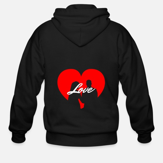Love Hoodies & Sweatshirts - Just Married Love Heart - Men's Zip Hoodie black