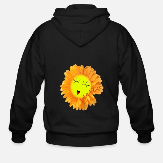 Funny Hoodies & Sweatshirts - Laughing Sunflower Hello - Men's Zip Hoodie black