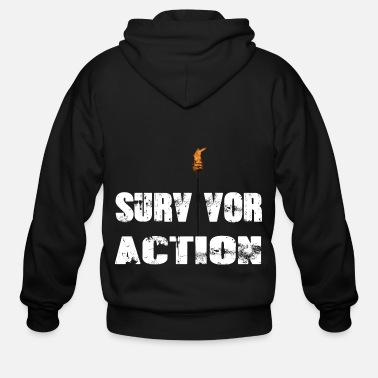 Apocalypse Survivor action with flame - Men's Zip Hoodie