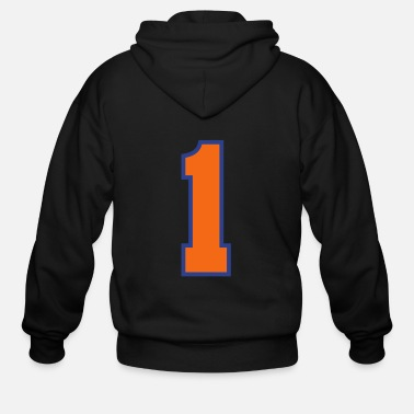 Jersey Number Sports Jersey - Number 1 (2-color custom) - Men's Zip Hoodie