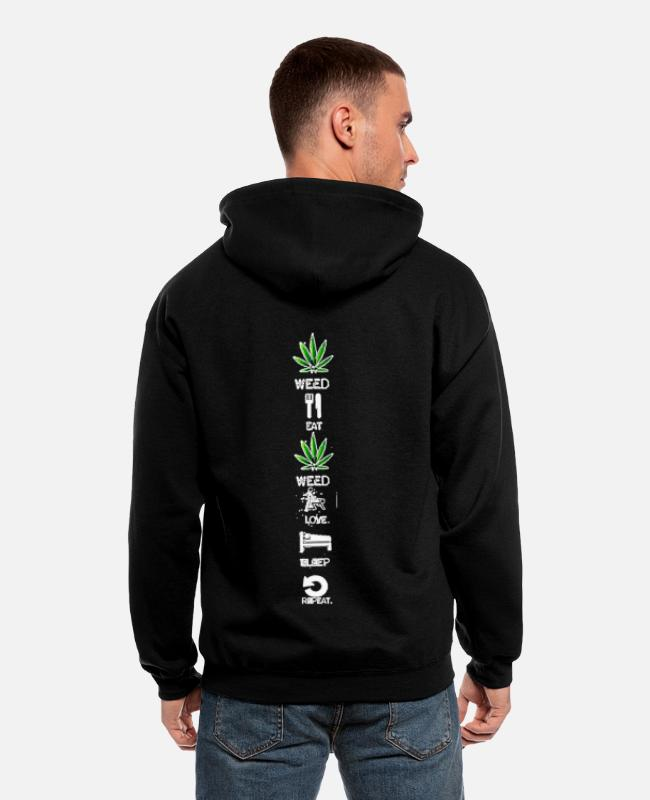 Bed Hoodies & Sweatshirts - Weed daily routine dayly - Men's Zip Hoodie black