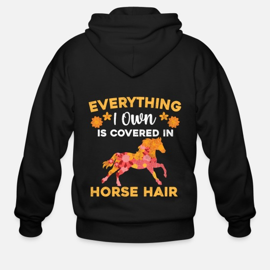 Quarterhorse Hoodies & Sweatshirts - Equestrian Fans design Horse Hair Horseback Riding - Men's Zip Hoodie black