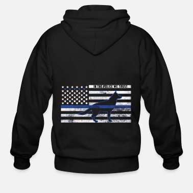Police Dog Thin Blue Line bluelight police firefighter - Men's Zip Hoodie