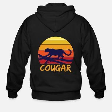 Leopard Cougar tooth black jungle - Men's Zip Hoodie