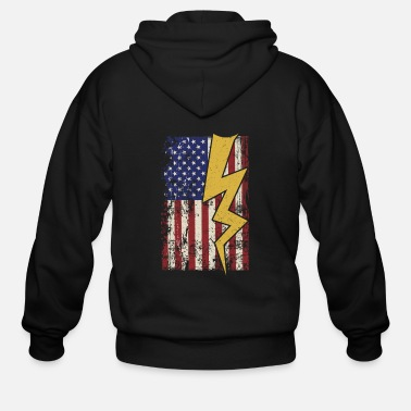Electricity Electrician USA American Flag - Men's Zip Hoodie