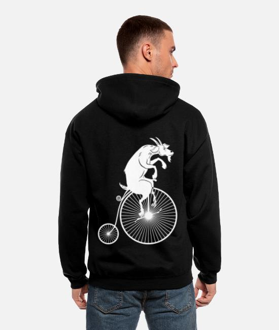 Billy Hoodies & Sweatshirts - Goat Riding a Bike White Silhouette - Men's Zip Hoodie black