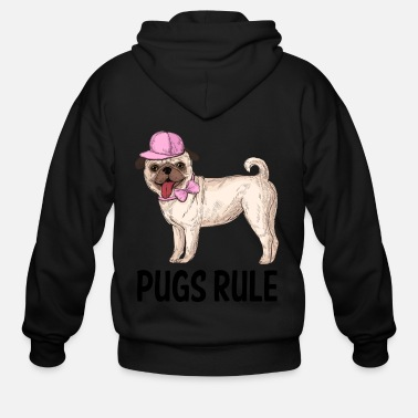 Bow Pug Puppy Dog Cartoon Love Puppies Dogs Pugs Rule - Men's Zip Hoodie