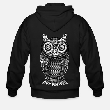 ornamental Owl Design black and white - Men's Zip Hoodie