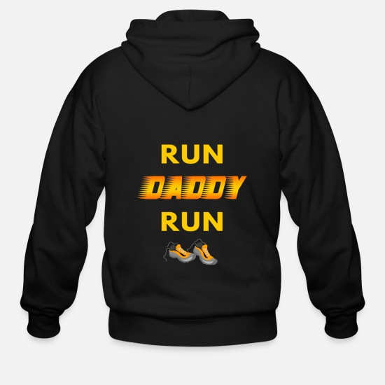 Triathlon Hoodies & Sweatshirts - Run Daddy Run Running Dad Fathers Day - Men's Zip Hoodie black