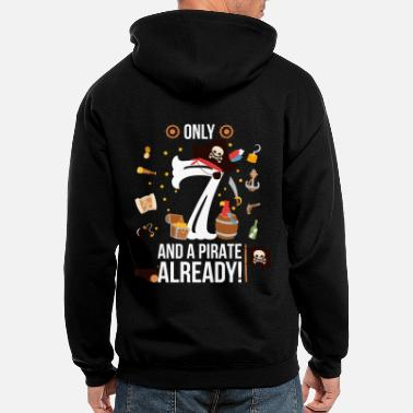 7th Birthday Boy Only 7 And A Pirate Already - Men's Zip Hoodie