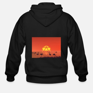 Pelican Pond Sunset D20 Dice Moon RPG Landscape - Men's Zip Hoodie