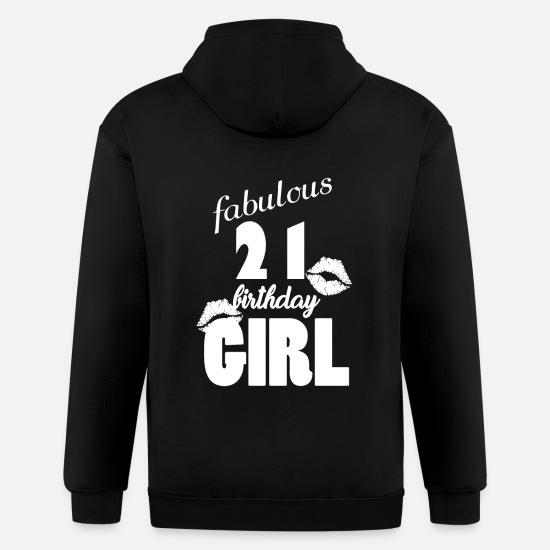 1b33e576e Year Hoodies & Sweatshirts - fabulous 21 birthday girl 21st birthday pink  Kiss - Men's Zip