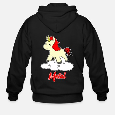 Metal Music Metal Unicorn - Unicorn - Metal - Music - Men's Zip Hoodie